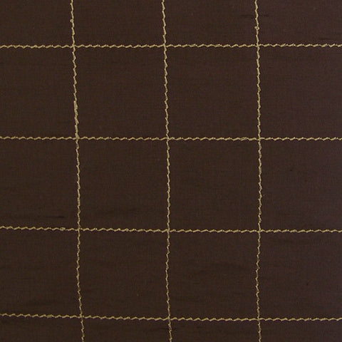 Drapery Fabric Embroidered Silk Taffeta Panes Chocolate Toto Fabrics