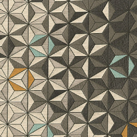 Brentano Equinox Orion 3D Geometric Design Gray Upholstery Fabric