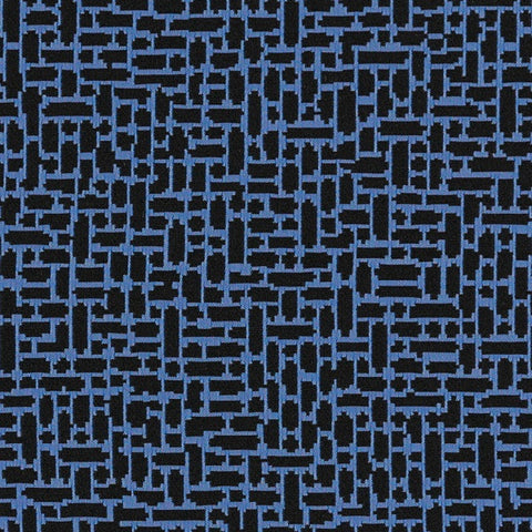 Arc-Com Great Wall Midninght Stacked Rectangles Blue Upholstery Fabric