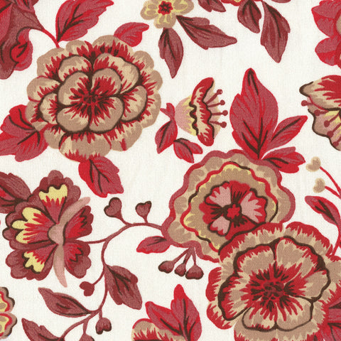 Home Decor Fabric Cretonne Floral Print Peasant Floral Red Toto Fabrics