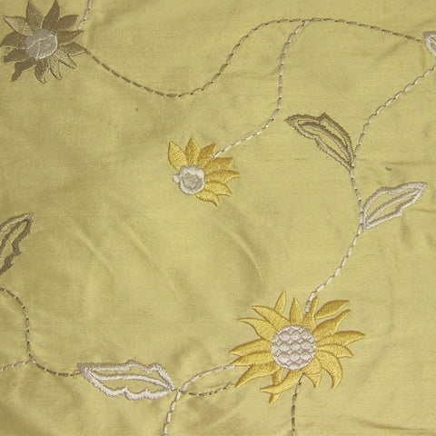 Seville Maize Embroidered Floral Silk Drapery Fabric