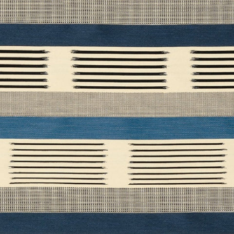 Knoll Textiles Upholstery Fabric Remnant Ikat Stripe Atlantic