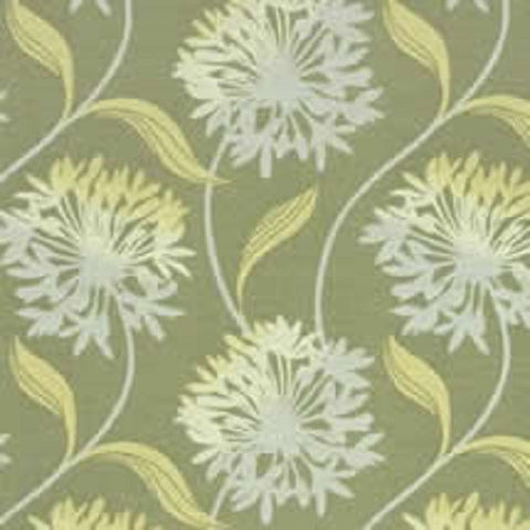 Arc-Com Fabrics Upholstery Fabric Elegant Floral Laurel Lemon Grass