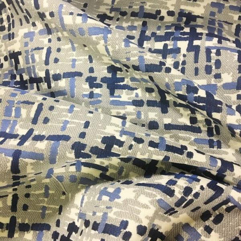 Robert Allen Abstract Plaid Cobalt Modern Design Blue Upholstery Fabric
