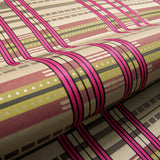 Aerial View Magenta Large Grid Stripe Pink & Grey Upholstery Fabric