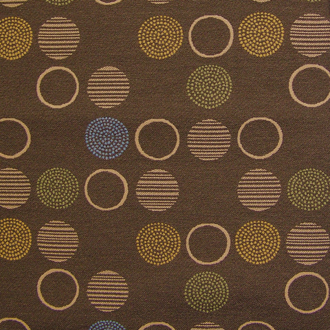 Momentum Upholstery Fabric Colorful Varied Circles Amuse Mocha Toto Fabrics