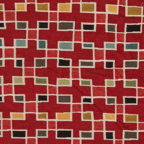 Arc-Com Block Party Cherry Colorful Geometric Red Upholstery Fabric