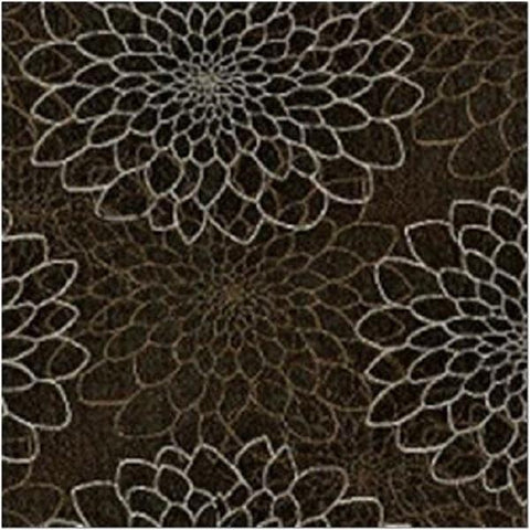 Pallas Busy Bee Carbon Copy Modern Floral Design Brown Upholstery Fabric