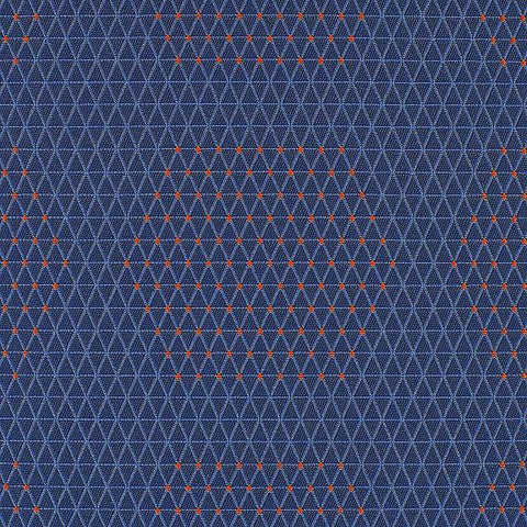 HBF Textiles Upholstery Fabric Outdoor Sunbrella Dot Structure Blue And Orange Toto Fabrics