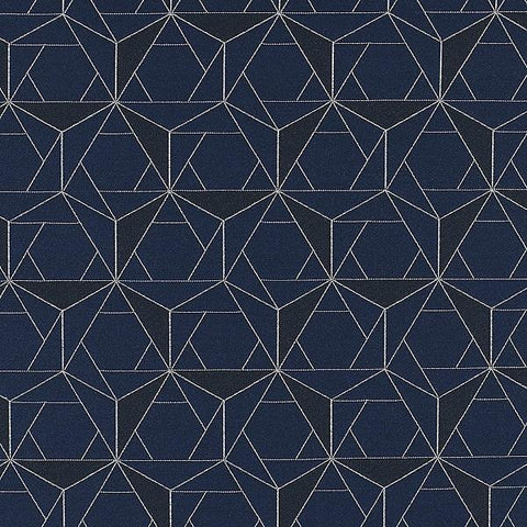 HBF Textiles Upholstery Fabric Geometric Folded Lines Navy White Toto Fabrics