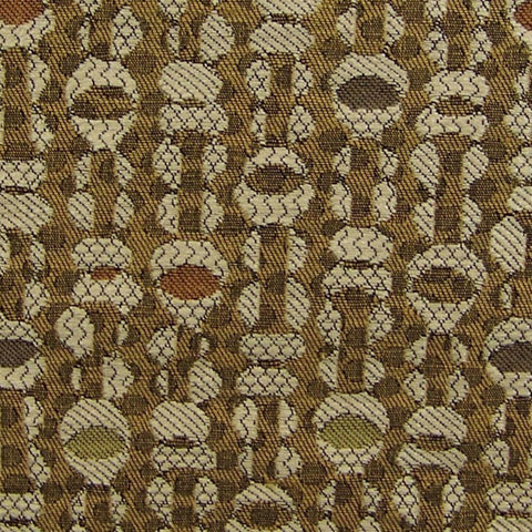 Fox Trot Almond Gold Shell Bead Upholstery Fabric
