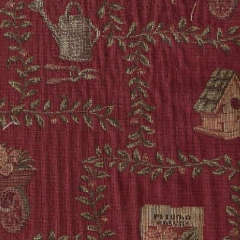 Upholstery Fabric Old Country Themed Garden Shed Crimson Toto Fabrics