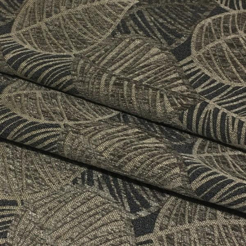 True Textiles Upholstery Fabric Leaf Design Lanyon Charcoal Toto Fabrics