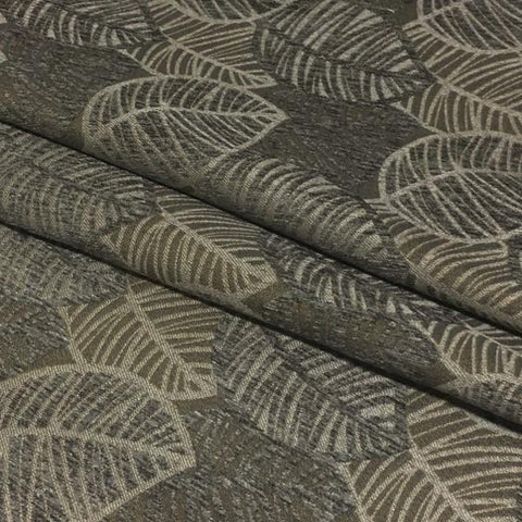 True Textiles Upholstery Fabric Leaf Design Lanyon Graphite Toto Fabrics