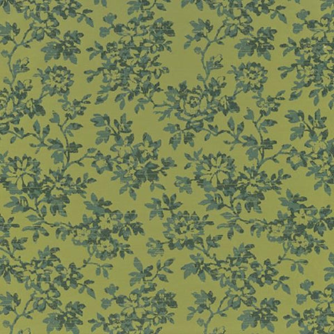 Knoll Magnolia Tourmaline Floral Green Upholstery Fabric