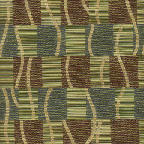 Samba Sage Squares And Stripes Green & Brown Upholstery Fabric