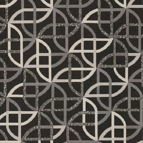 Designtex Shortcut Print Geometric Black Upholstery Fabric