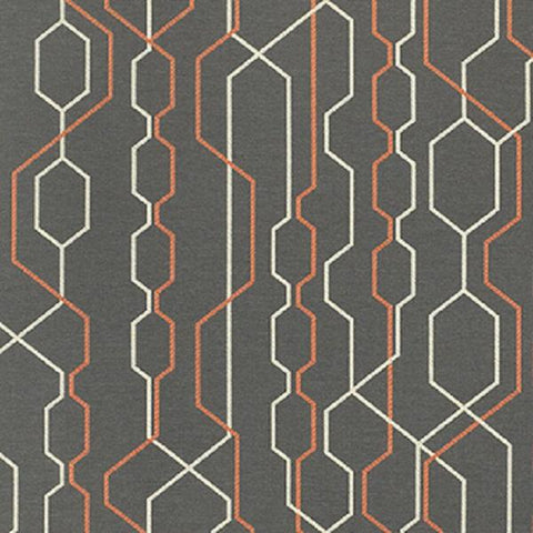 Momentum Story Path Modern Design Gray Upholstery Fabric