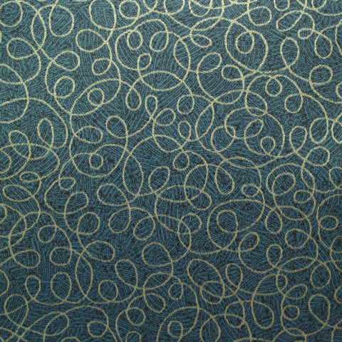 CF Stinson Tendril Denim Swirl Pattern Vinyl Blue Upholstery Fabric