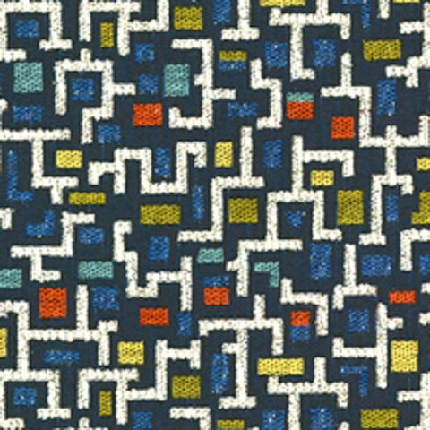 Architex Tetris Indigo Geometric Blue Upholstery Fabric