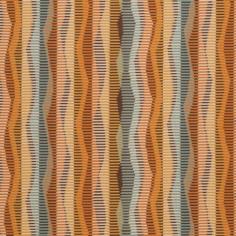 Arc-Com Zip Line Desert Wavy Striped Orange Upholstery Fabric