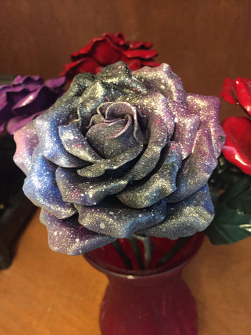 SALE Glitter Galaxy OOAK Everlasting Art Painted Rose
