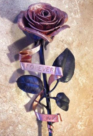 Forever Love Everlasting Rose in Hammered Copper