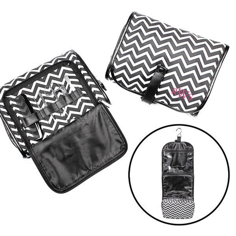 Chevron Hanging Cosmetic Bag (Includes Grooming Set)