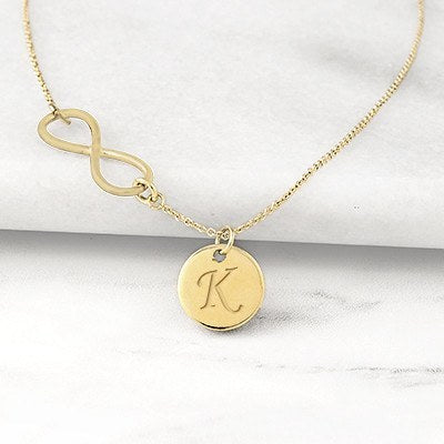 Gold Personalized Infinity Necklace with Charm