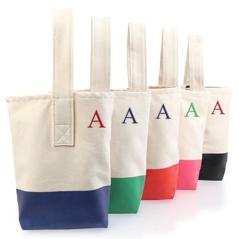 Green Color Dipped Wine Tote