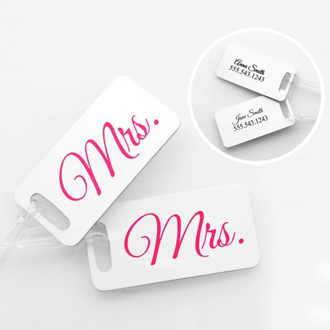 Mrs. & Mrs. Personalized Luggage Tags (Set of 4)