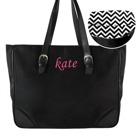 Personalized Chevron Buckle Tote Bag