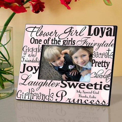 Personalized Flowergirl Frame - Pink Dots
