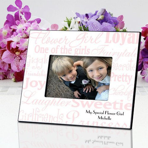 Personalized Flowergirl Frame - Pink/White