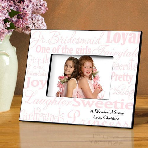 Personalized Jr. Bridesmaid Frame - Pink/White