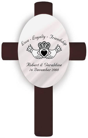 Personalized Oval Wedding Cross - E5 Claddagh
