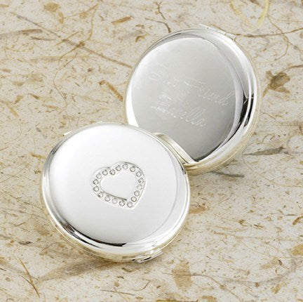 Sweetheart Silver Plated Compact Mirror
