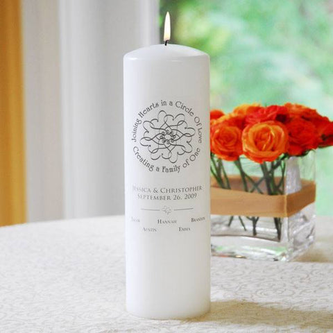 White Blended Family Unity Candle