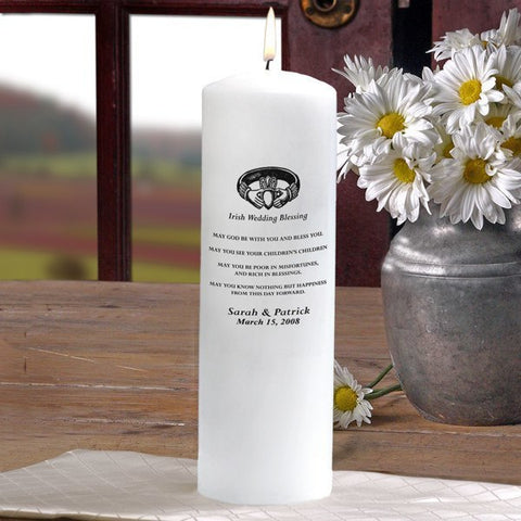 White Irish Wedding Blessing Unity Candle