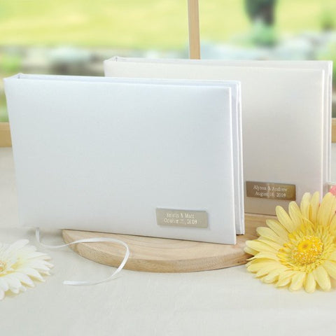 White Simply Satin Guestbook
