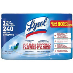 Lysol - Cleaning Wipes Three Pack - Spring Waterfall (3 Packs X 80 Sheets)