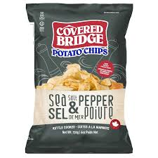 Covered Bridge Kettle Chips - Sea Salt and Pepper (28x36g)