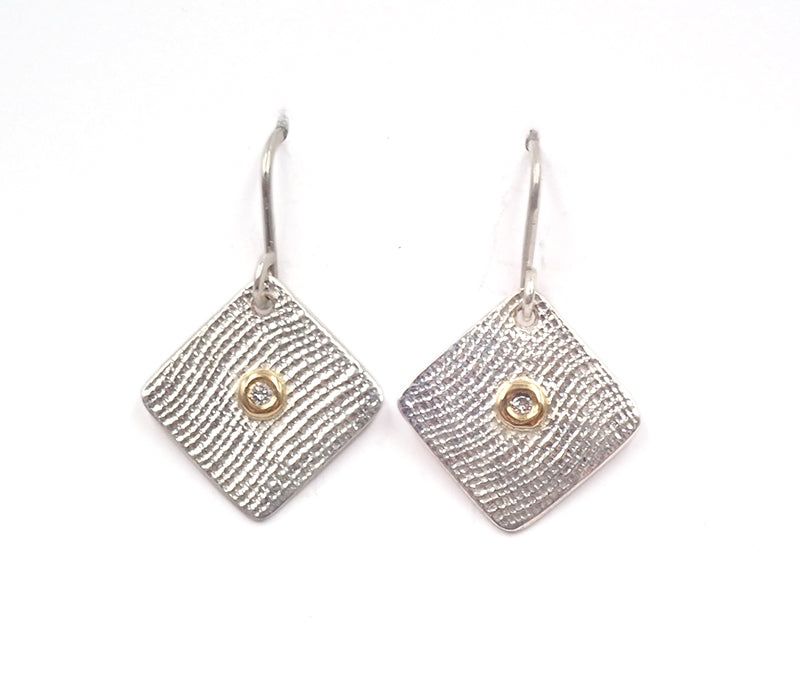 Ben Flynn linen textured earrings diamonds gold