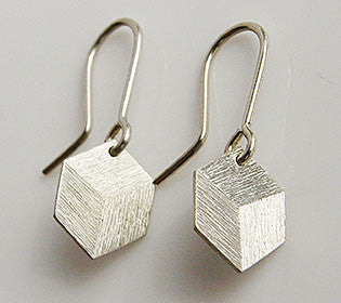 Perspective Box Earrings Silver