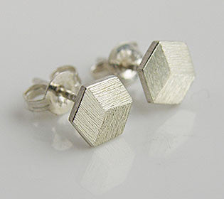 Perspective Box Stud Earrings Silver
