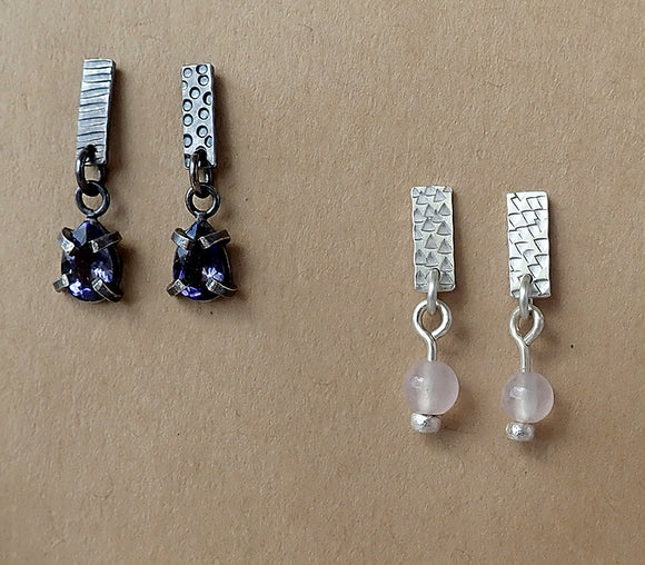 Miss-Match Stamped Stud Drop Earrings
