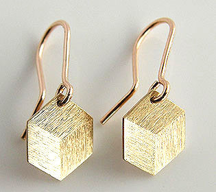 Perspective Box Earrings Gold