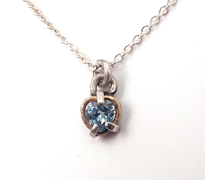 Blue Zircon Heart Necklace