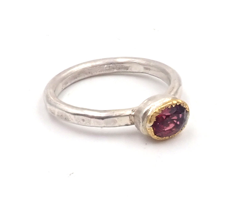"""nz made jewellery"" ""New Zealand Jewellery"" ""nz made"" ""nz made ring"" ""NZ handmade jewellery"" ""Penelope Barnhill"" ""silver ring"" ""gold setting"" ""handmade ring"" ""garnet ring"" ""pink garnet"" ""rustic ring"""