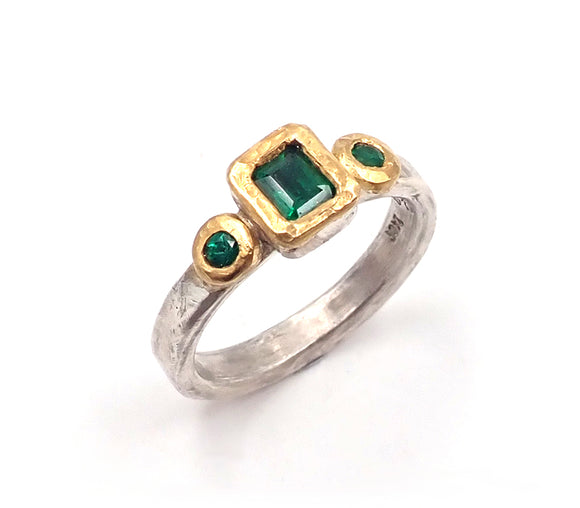 nz jewellery ring emerald Penelope Barnhill green gold silver medieval raw